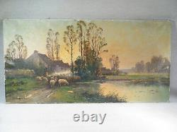 B Langevin Old Table Oil On Web Guardian Of Sunset Sheep