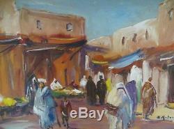 B. Retaux Ancient Orientalist Paint Oil On Wood Marrakech
