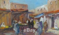 B. Retaux Old Paint Orientaliste Oil On Wood Marrakech