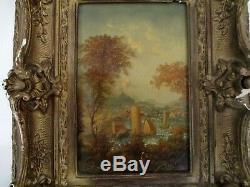 Beautiful Oil On Wood Old Nineteenth Eighteenth Rare Rare Frame Wood Stucco