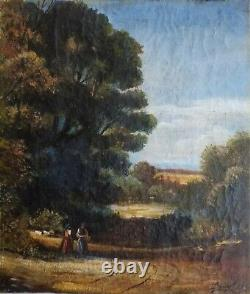 Beautiful Old 19th Century Painting, Signed And Dated. Animated Landscape. Oil On Canvas