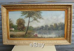 Beautiful Old Oil On Canvas Framed And Signed Alray 1950s