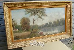 Beautiful Old Oil Painting Framed And Signed Alray 1950