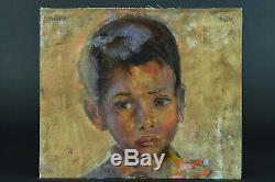 Beautiful Picture Former Indochina Asian Child Portrait Oil On Canvas No. 1
