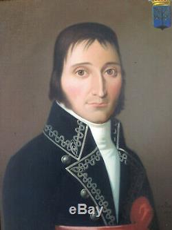 Beautiful Portrait Noble Man XIX Nobility Empire Oil On Old Canvas
