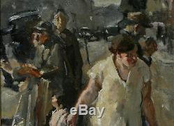 Beautiful Table From Street Scene Oil On Canvas 1940 Ancient Painting