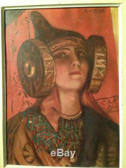 Beautiful Woman Portrait Symbolist Lady Elche Orientalist Oil On Canvas Old
