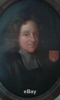 Board. Former. Oil On Canvas. Portrait Etienne Baluze. Historian. 18th