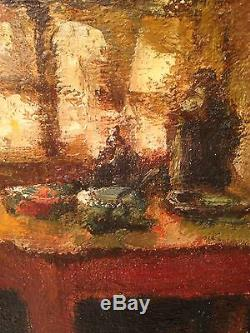 Denis-old Painting Inside Brunaud Twentieth Breton Oil On Canvas Signed