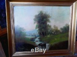 E. Small Beautiful Old Oil Painting Barbizon Late Nineteenth