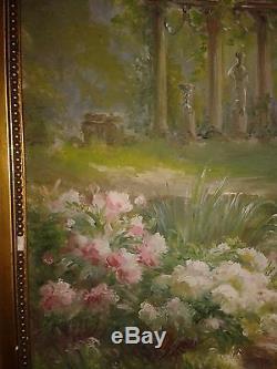 Edmond Allouard (xix Xx) Ruins In A Park Painting Old Oil On Canvas