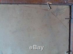 Farm A L'etang Landscape Oil On Cardboard Table Old P. Berthier 1931