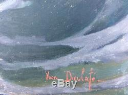 Former Big Picture Oil On Panel Signed Yvon Dieulafe Wave
