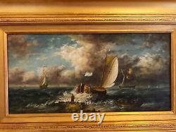 Former English School, Marine Scene, Oil On Wood Signed