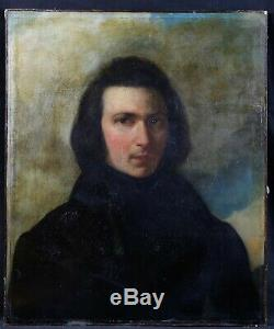 Former French School Oil On Canvas Portrait Of Romantic Period Man