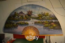 Former Grand Fan 1.25 M X 2.15 M Plie Painted Main Oil On Canvas Table