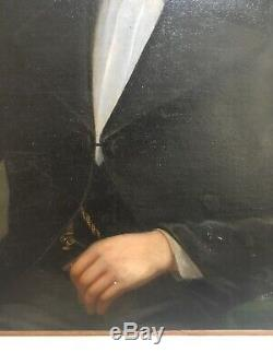Former Grand XIX Portrait Young Man, Painting Table Oil On Canvas