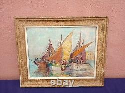 Former Marine Painting Oil On Panel Signed / Pierre Forest 1881-1971