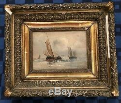 Former Marine Painting Oil On Panel Signed Wood Georges XIX