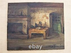 Former Oil On Canvas By Denis Brunaud 1950s