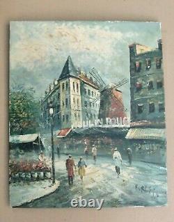 Former Oil On Canvas Of The 1960s Signed Burnett Moulin Rouge