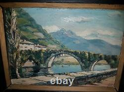Former Oil On Wood Panel Basque Painting Signed Jiva Around 1950 Old Painting