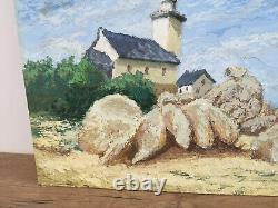 Former Oil Painting On Sign Albert Dujardin (xxe-s) Lighthouse In Bretagne