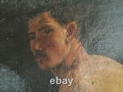 Former Painting Oil On Canvas Inconnu (xixe-s) Man Sitting In Swimsuit