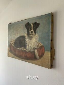 Former Painting Oil On Canvas Signed Rossini Representative A Dog Years 50