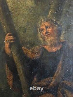 Former Painting On Copper 19th Portrait Of A Holy Apostle To Be Identified