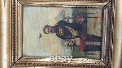 Former Painting Portrait Of Capitainin Infanterie 102 Th Regiment On Wood 1884