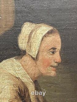 Former Pair Oils On Wood Dutch School Cooking Scene, Xixeme