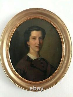 Former Portrait Of Bourgeois Woman, Oil On Canvas Napoleon III Era, Signed