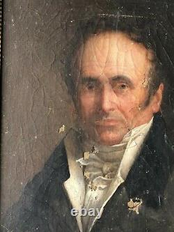 Former Portrait Of Man Epoque Empire Restauration Huile On Toile 19th
