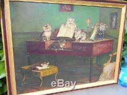 Former Surprisingly Large Painting Oil On Canvas, Kittens Around And On A Piano