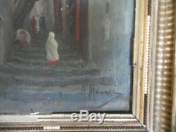 Former Table Oil On Panel Orientalist A. Mourre Kasba Algiers