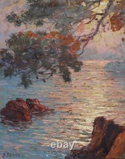 Former Table On Isorel Marine Pierre Forest 1881-1971 Landscape Cote D'azur