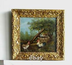 Frame Old Wood Dore Paint Oil On Wood Rooster And Chickens