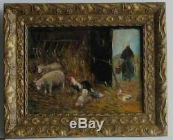 Frame Old Wood Dore Painting Oil On Wood Farm Animals Chickens, Sheep