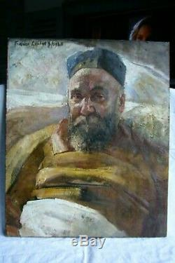 France Leplat Old Painting Oil On Canvas Portrait Of Man 1925