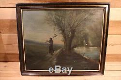 Frechon 1865 Oil On Canvas Painting Old Adam Under Napoleon III Nineteenth
