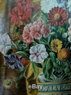 French School Bunch Of Flowers Oil On Canvas 19th Former Table