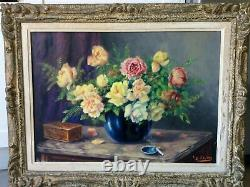 French School Circa 1900 Old Table Oil On Panel Depicting A Kind