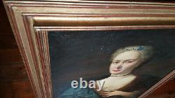 Grand Ancien Table Of Epoque 17th Oil Portrait On Toile