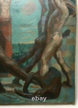 Great Ancient Symbolism Painting, Oil On Canvas, Combat Scene, Xxth School
