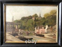 H Gérault Ancient Painting View Of The Port Of Dinan Marine Oil On Carton Brittany