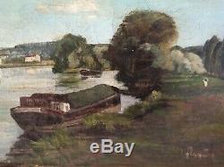 Jean Joveneau Xix-xx ° S Oil On Canvas Barge Bien Hoa Old Old Oil 55x38
