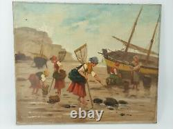 L. Morin, Table Ancient Oil On Fisherman's Canvas