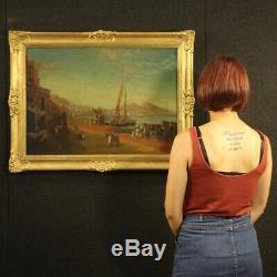 Landscape Marine Paint Picture Old Style Oil On Canvas Naples Port 900