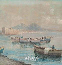 Landscape Of The Gulf Of Naples, Ancient Oil Painting On Canvas Signed